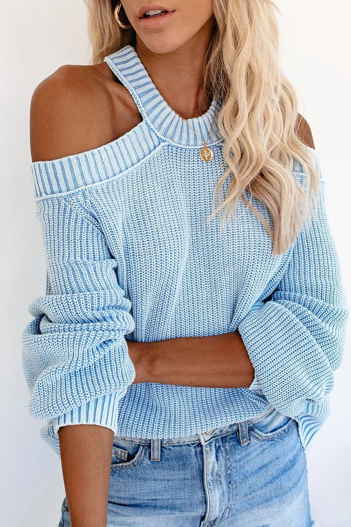 Halter Neck Cold Shoulder Sweater