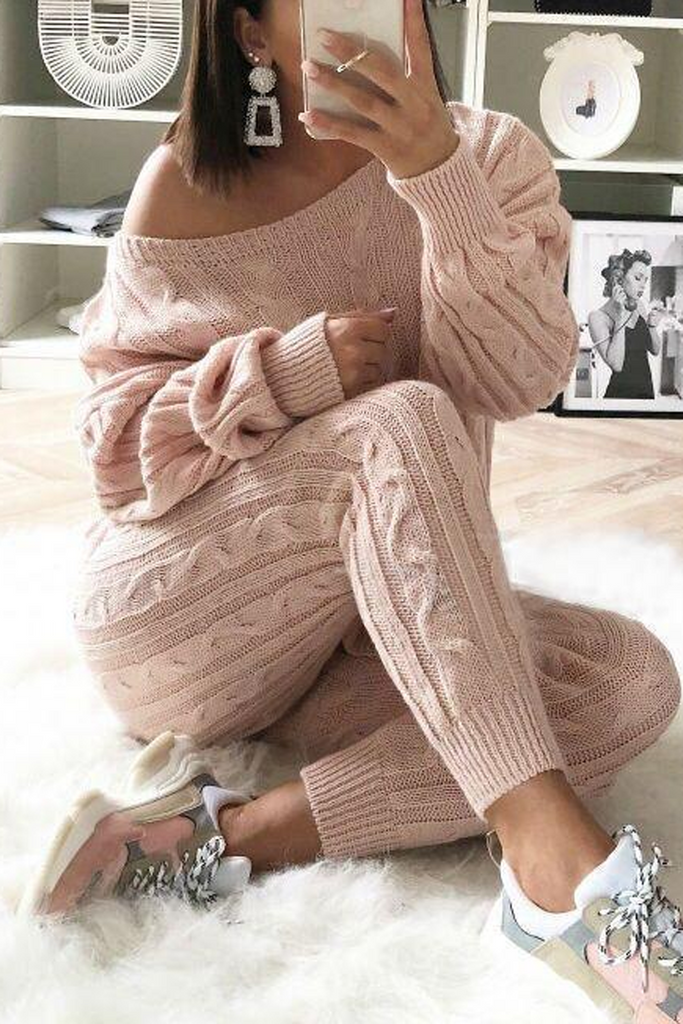 Knitted Solid Color Sweater Suits