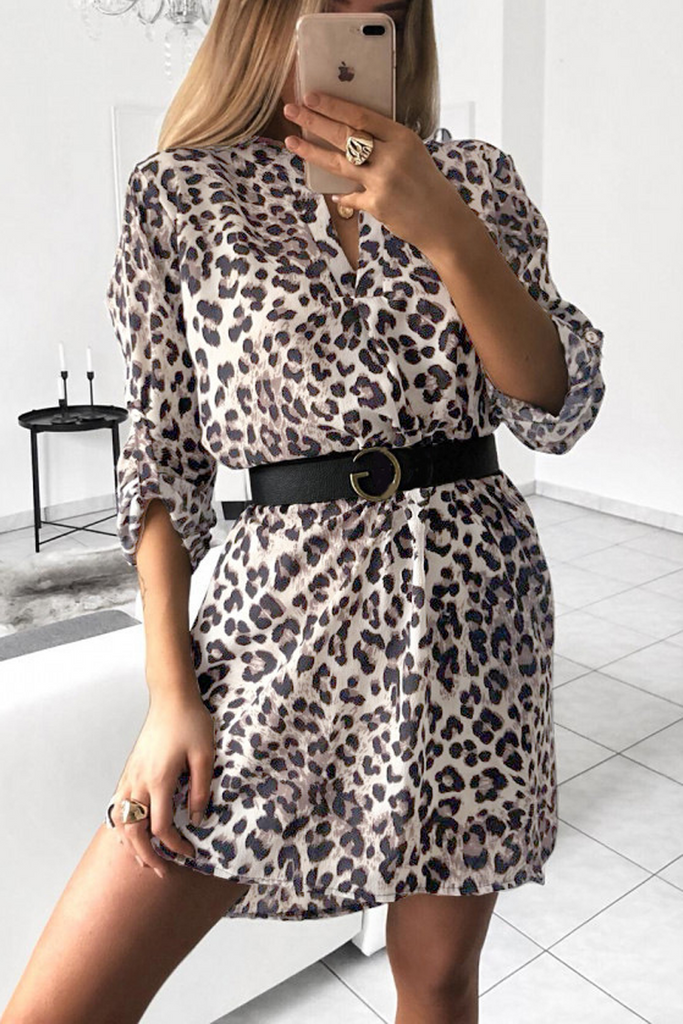 V-Neck Print Shirt Dress(Without Belt)