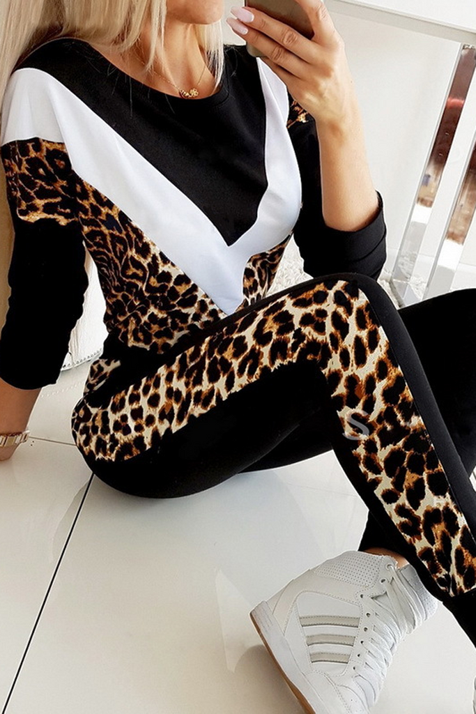 Leopard Patchwork Sweatshirt & Pants