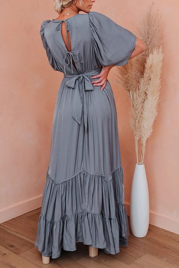 Bohemian Lace-Up Ruffle Maxi Dress