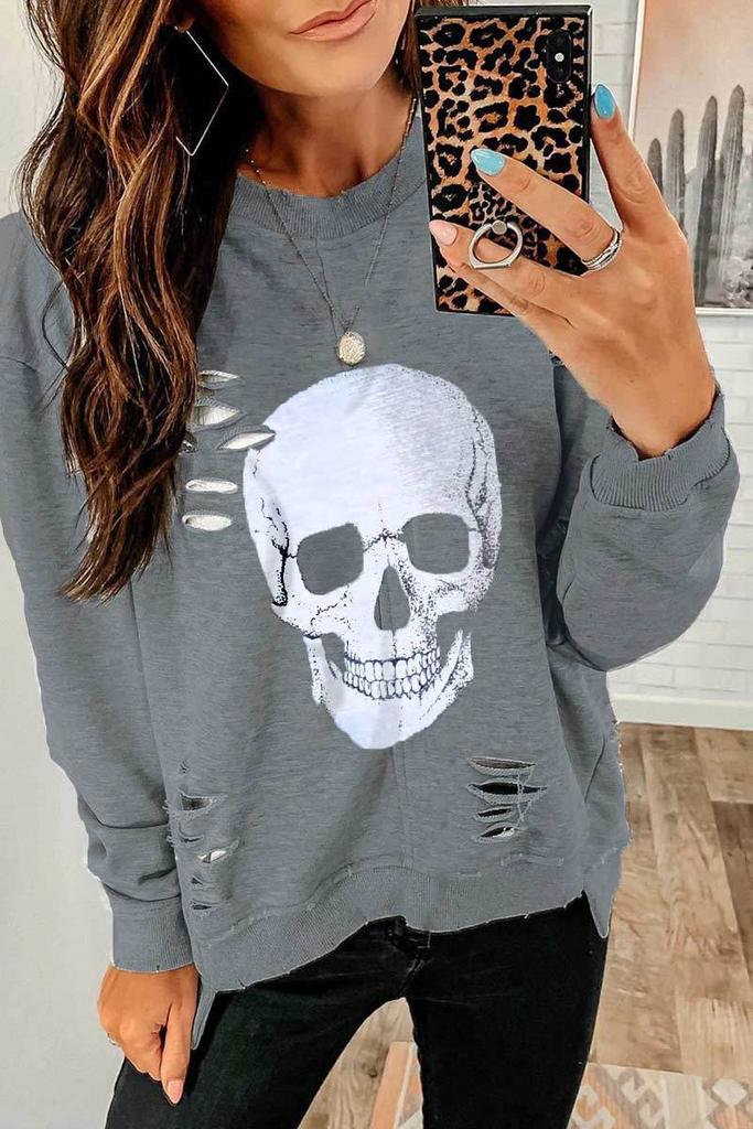 Skull Print Hollow-Out Sweatshirt