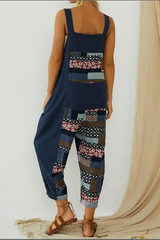 Plus Size Pockets Patchwork Overall Jumpsuit
