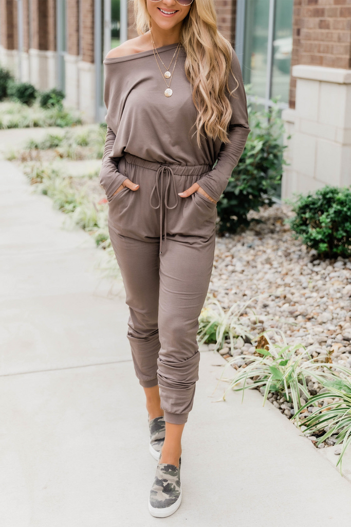 Solid One Shoulder Casual Jumpsuit