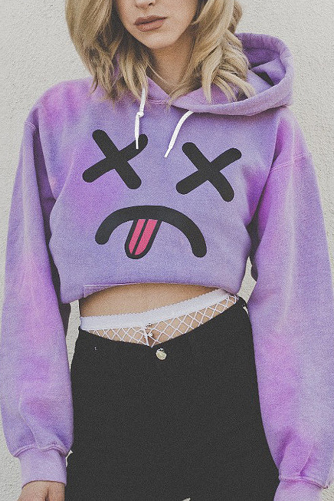 Cartoon Print Long Sleeve Hoodie