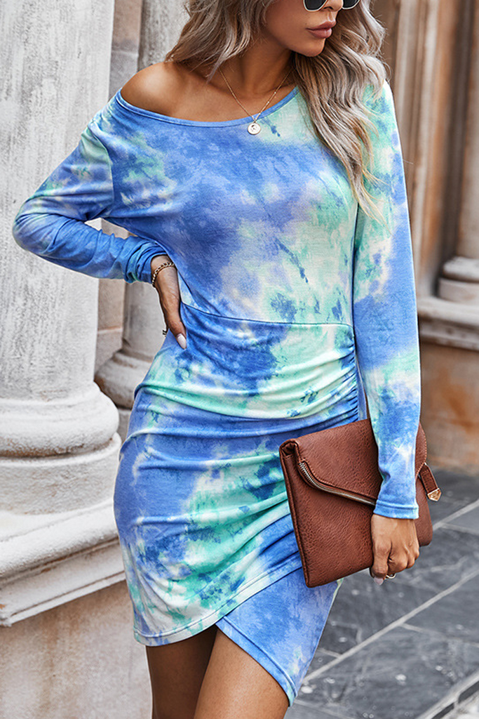 Tie Dye Print Slim Pleat Dress