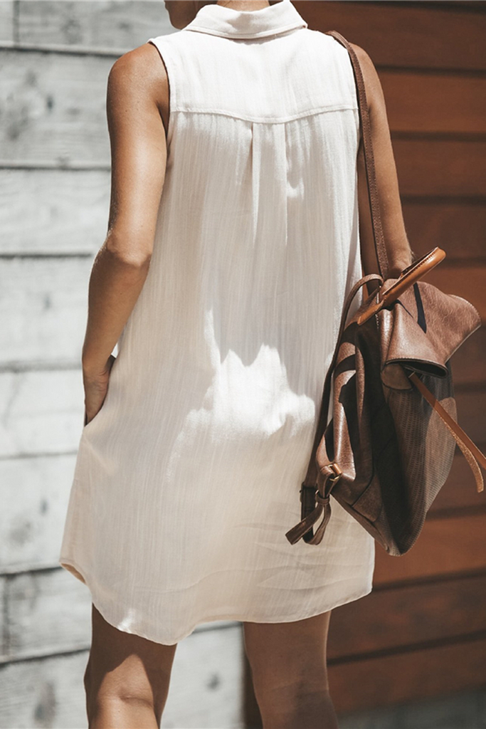 Solid Lapel Sleeveless Shirt Dress
