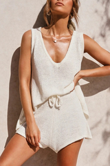 Solid Knit Sleeveless Two Pieces Sets