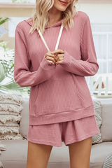 Knit Pocket Hoodie Two Pieces Sets