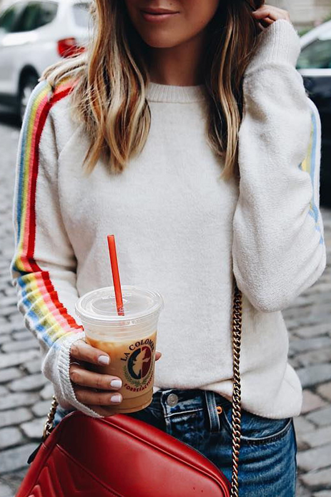 Rainbow Stripe Long Sleeve Sweater
