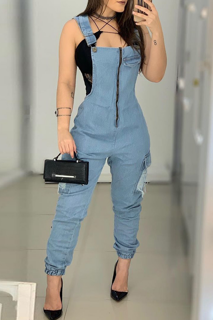 Denim Zipper Pocket Ripped Jumpsuit