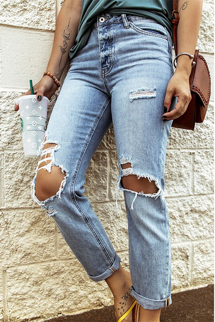 Denim Hole Distressed Pants