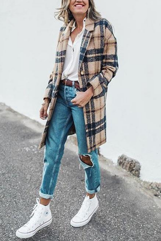 Plaid Print Woolen Outerwear