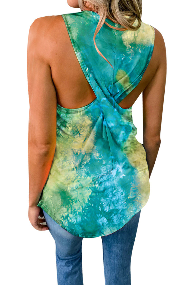 Criss Cross U-Neck Tie Dye Top