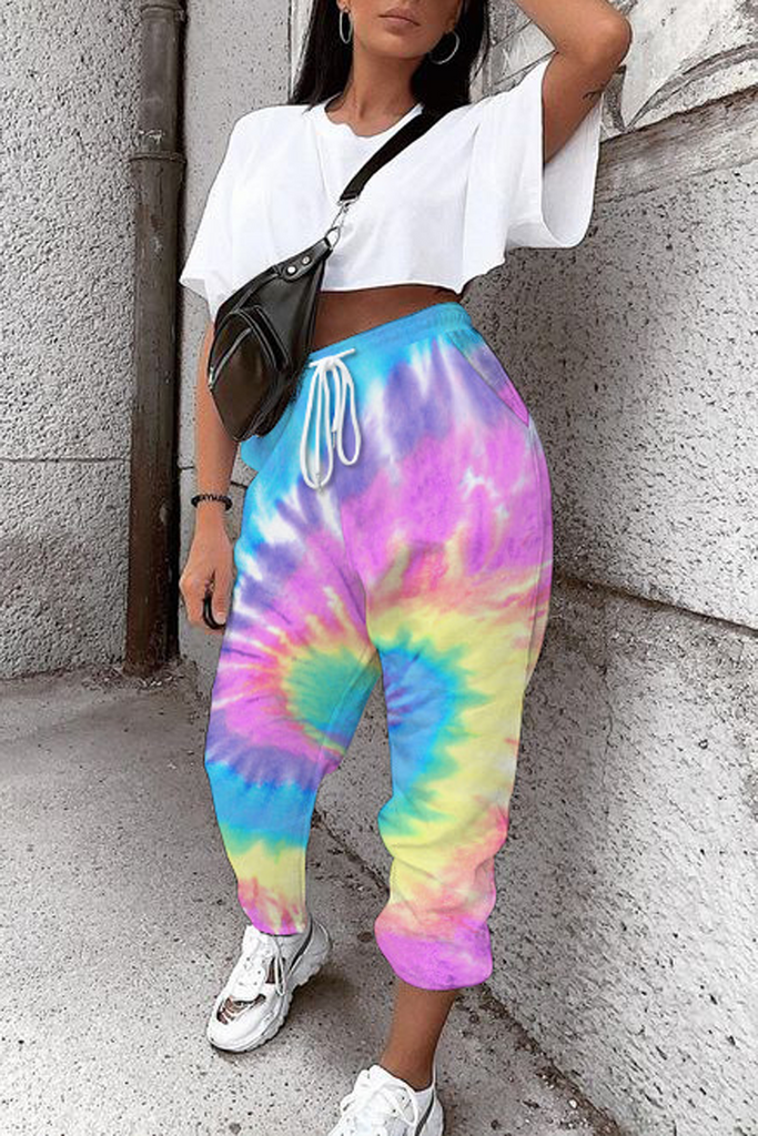 Tie Dye Print Casual Trousers
