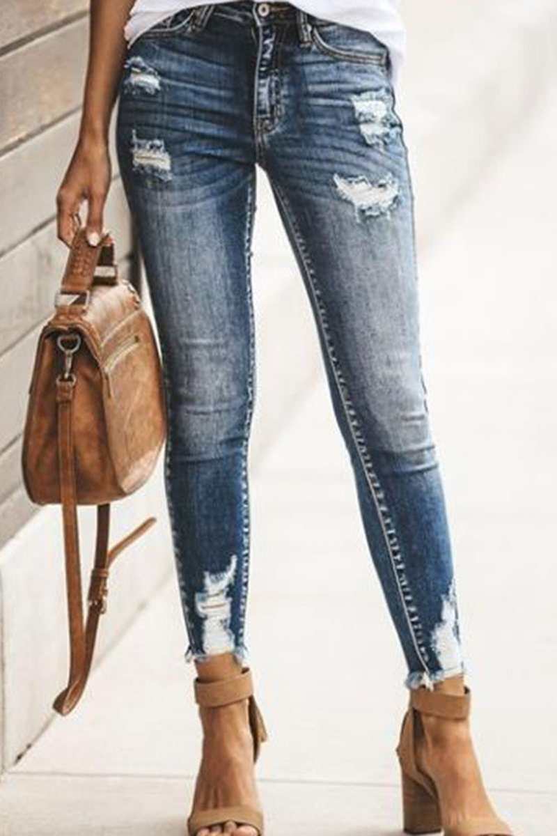 Hole Distressed Denim Pants