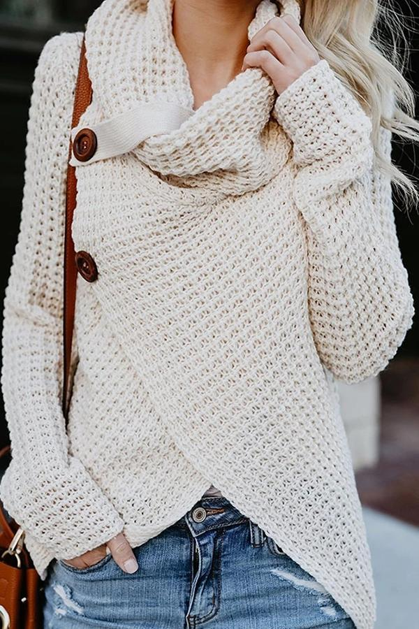 Turtleneck Button Irregular Sweater
