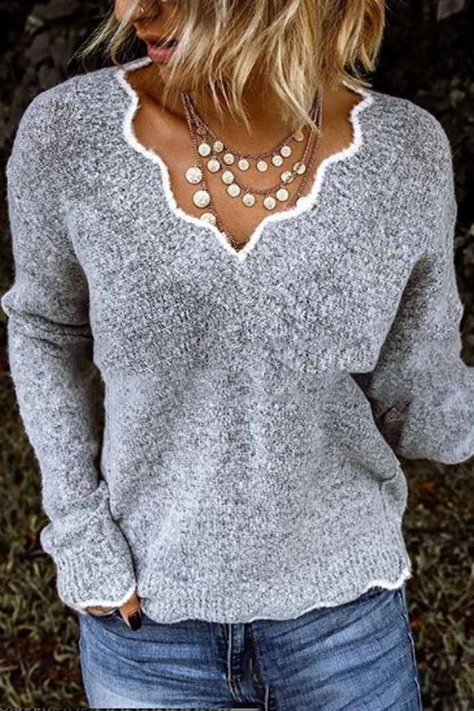 V-Neck Casual Long Sleeve Sweater