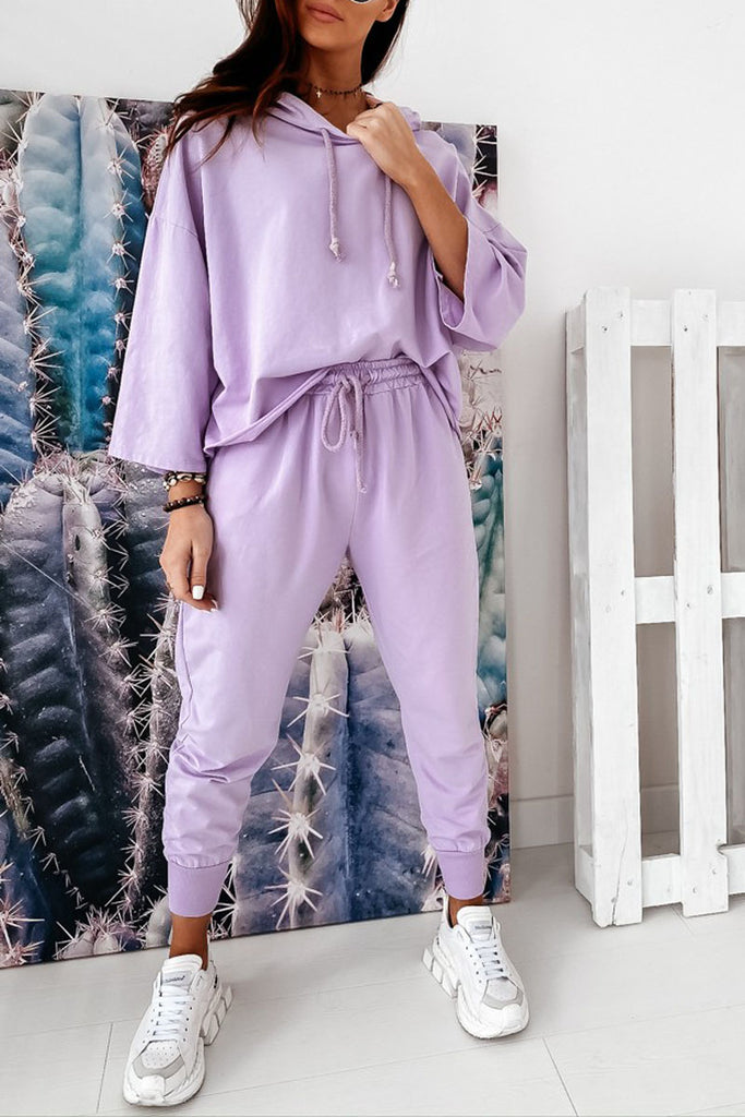 Solid Casual Hoodie Two Pieces Sets