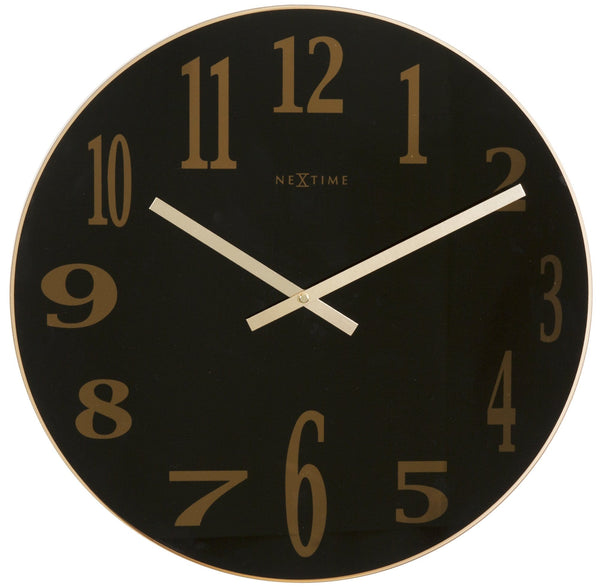 Front Picture 2472ZW,Smoky Mirror Glass,Wall clock,Silent,Glass,Black