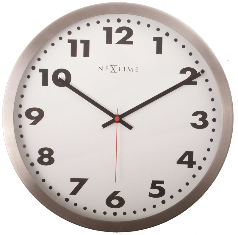 Front Picture 2519,Arabic,Wall clock,Stainless Steel,White