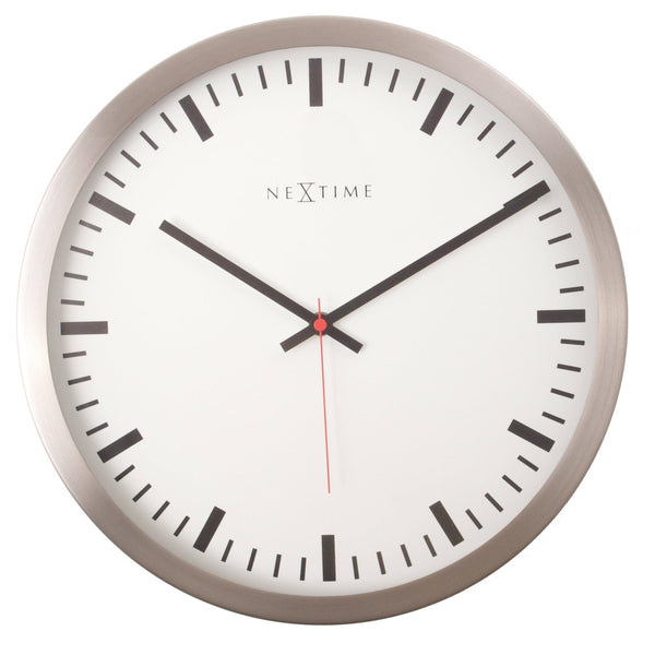 Front Picture 2520,Stripe,Wall clock,Stainless Steel,White