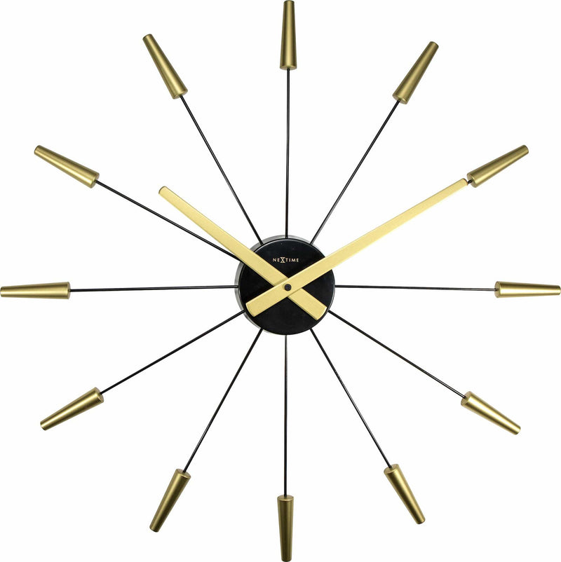 Front Picture 2610GO,Plug Inn,Wall clock,Silent,Stainless Steel,Gold,