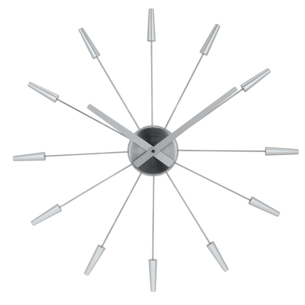 Front Picture 2610ZI,Plug Inn,Wall clock,Silent,Stainless Steel,Silver,#color_silver