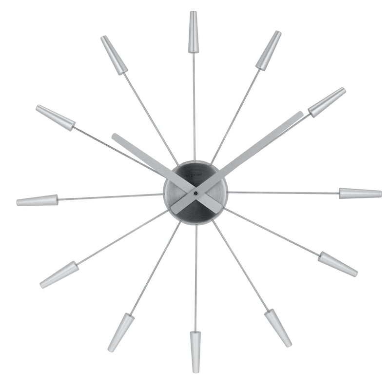 Front Picture 2610ZI,Plug Inn,Wall clock,Silent,Stainless Steel,Silver,