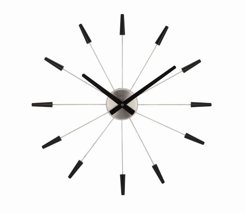 Front Picture 2610ZW,Plug Inn,Wall clock,Silent,Metal,Black,