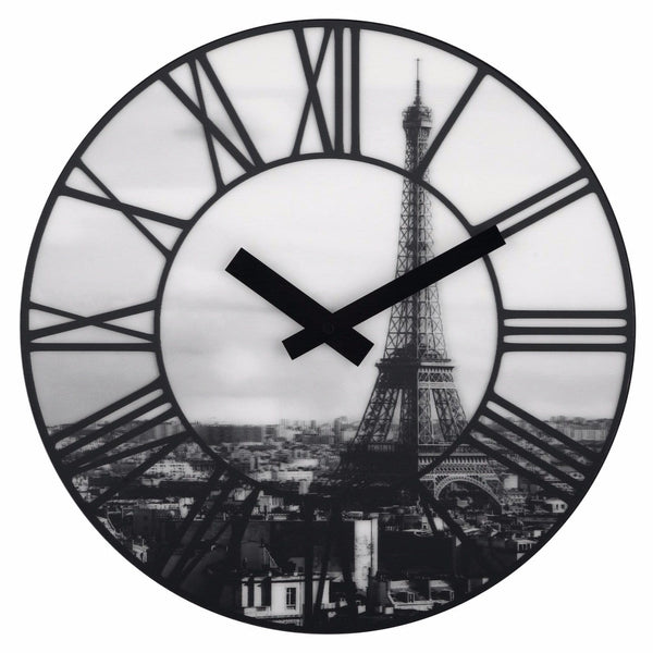 Front Picture 3004,La Ville,Wall clock,Silent,Lenticular,White