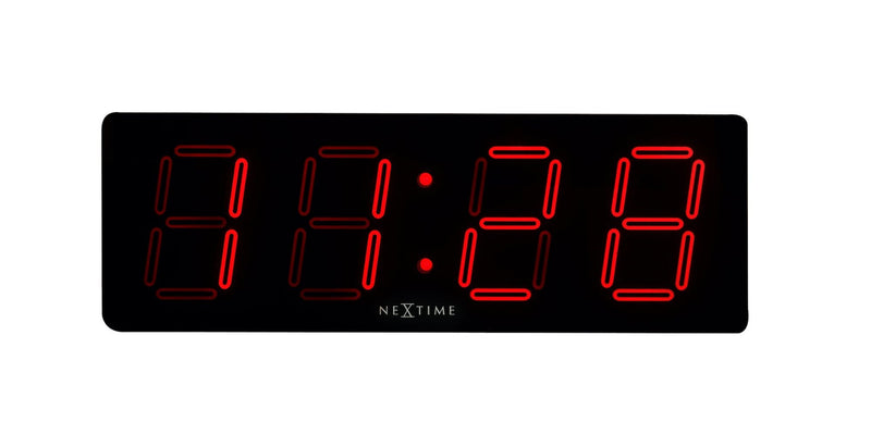 Front Picture 3059,Big D,Wall clock,LED,Plastic,Black
