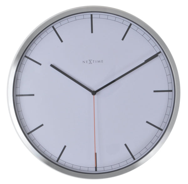 Front Picture 3071WI,Company - stripe,Wall clock,Silent,Aluminium,White,#color_white