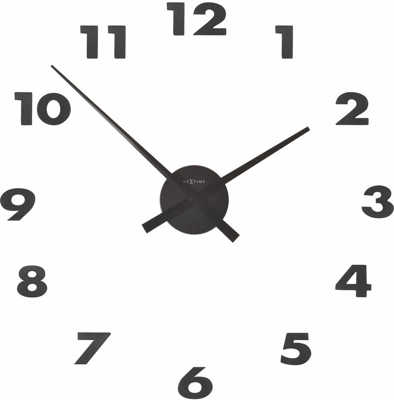 Front Picture 3074ZW,Small Hands,Wall clock,Step,Aluminium,Black,