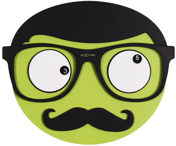 Front Picture 3089,Mr. Mustache,Wall clock,Step,Wood,Green