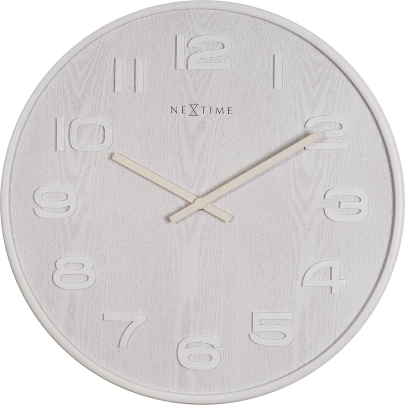 Front Picture 3095WI,Wood Wood Big,Wall clock,High Torque,Wood,White,