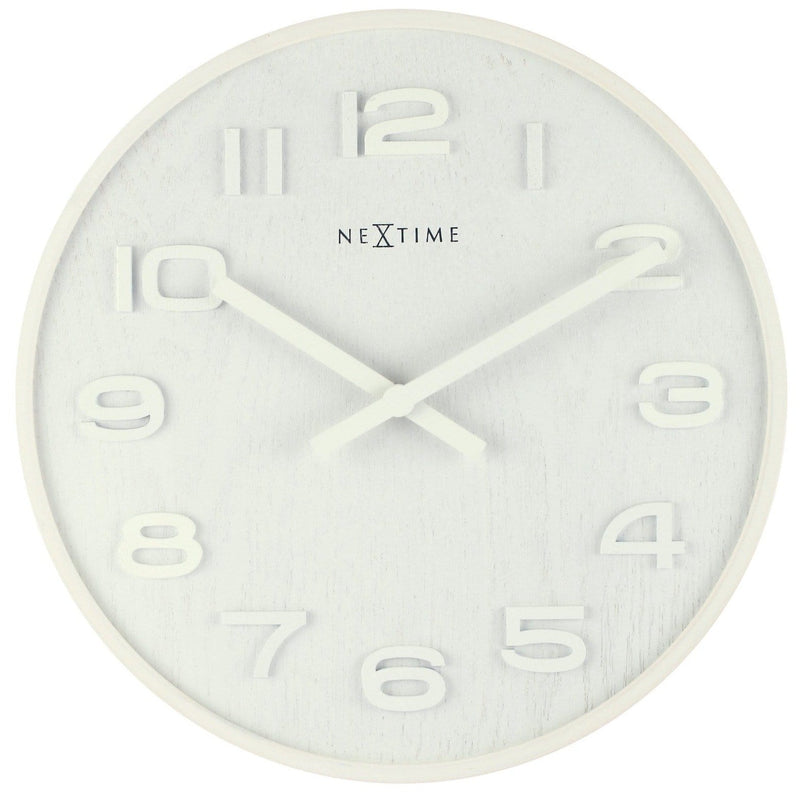 Front Picture 3096WI,Wood Wood Medium,Wall clock,High Torque,Wood,White,