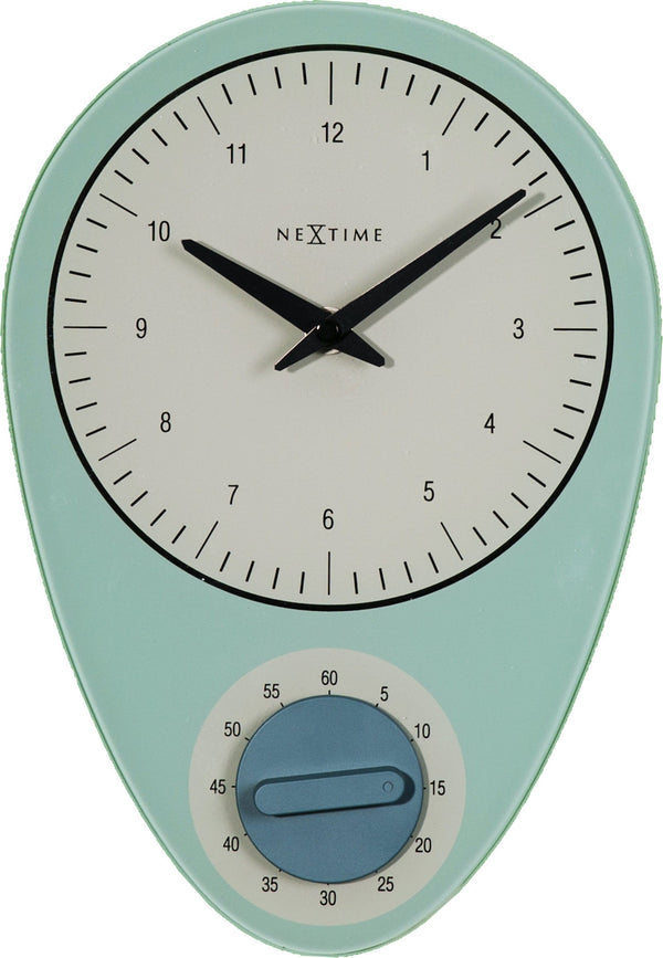 Front Picture 3097BL,Hans,Wall clock,Step,Glass,Blue,#color_blue