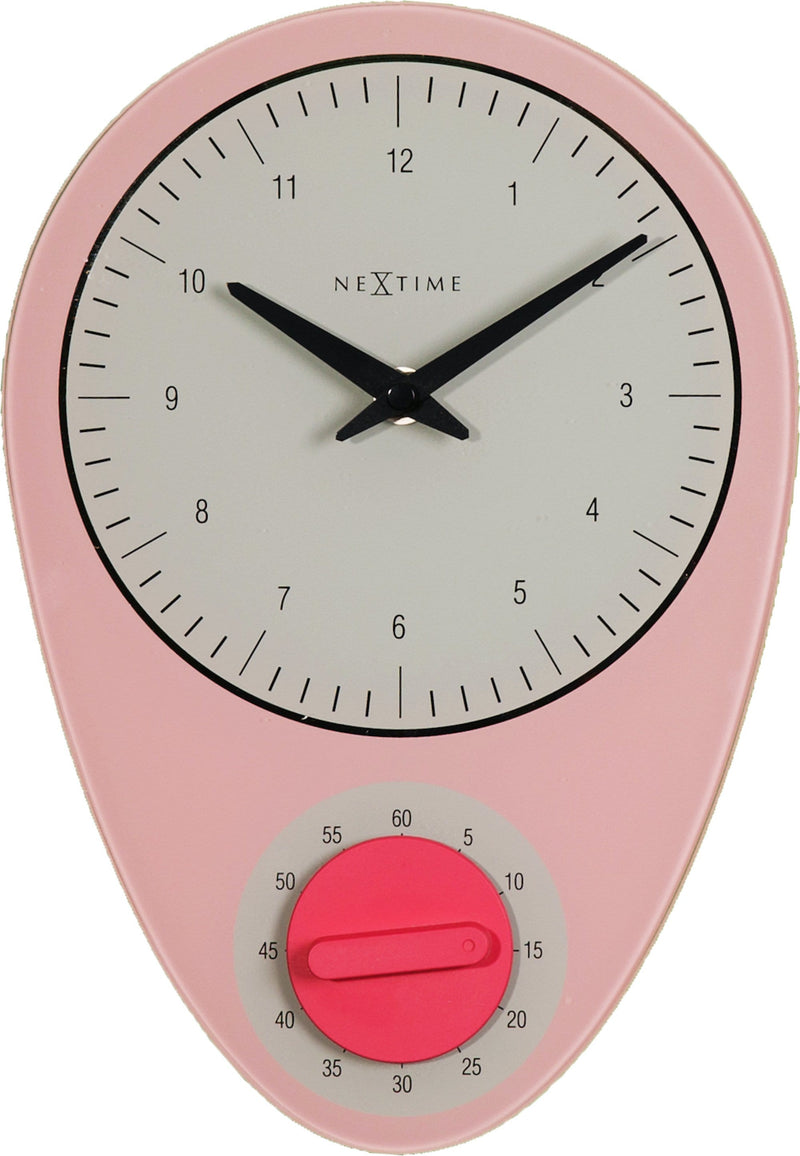 Front Picture 3097RZ,Hans,Wall clock,Step,Glass,Pink,