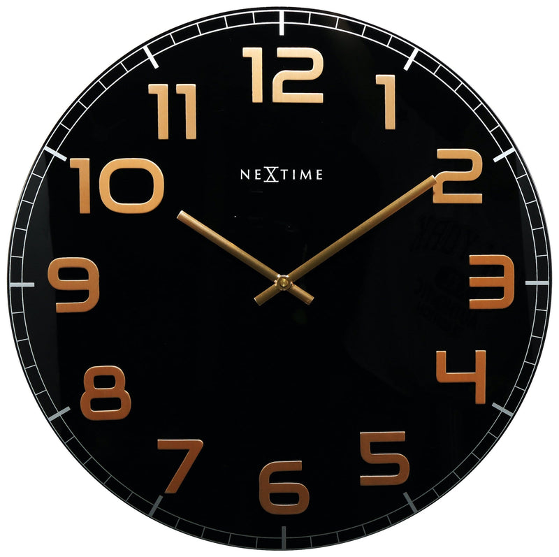 Front Picture 3105BC,Classy Large,Wall clock,Silent,Glass,Black / Copper,
