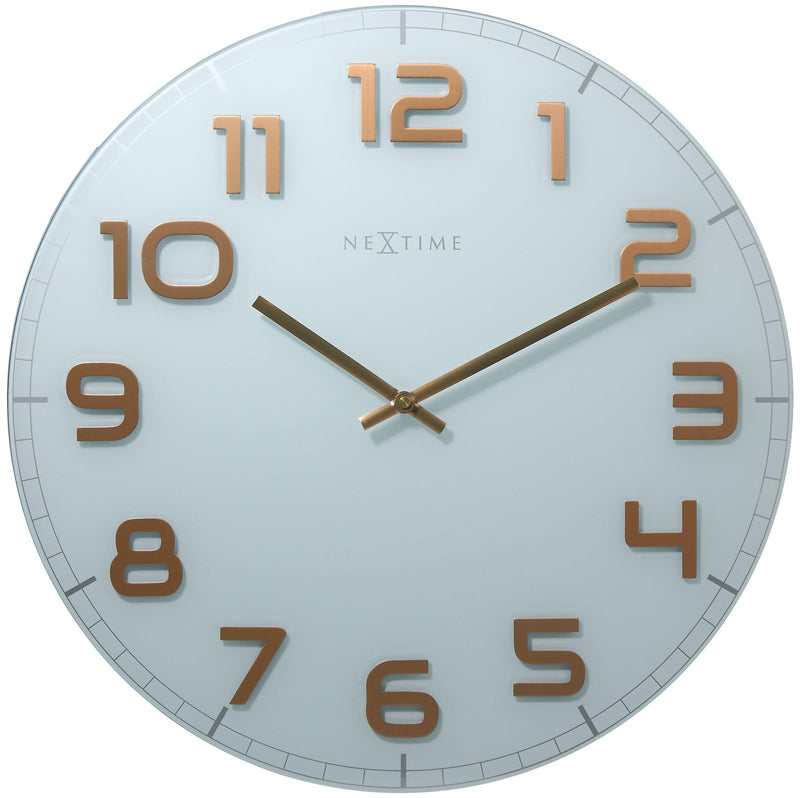 Front Picture 3105WC,Classy Large,Wall clock,Silent,Glass,White / Copper,