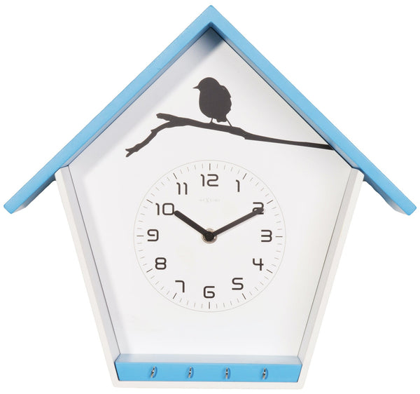 Front Picture 3109BL,Cuckey,Wall clock,Step,Wood,Blue,#color_blue
