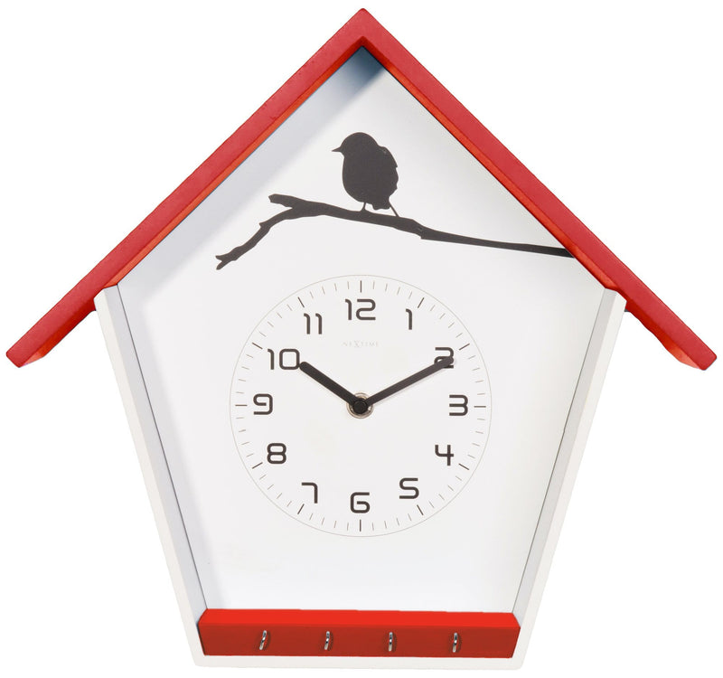 Front Picture 3109RO,Cuckey,Wall clock,Step,Wood,Red,