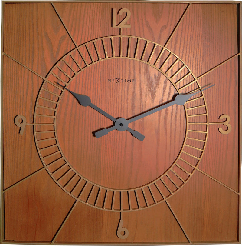 Front Picture 3112BR,Wood Square,Wall clock,High Torque,Wood,Brown