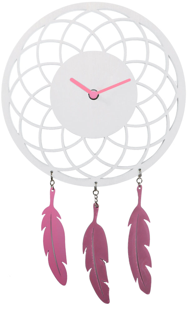 Front Picture 3114WI,Dreamcatcher,Wall clock,Silent,Wood,White