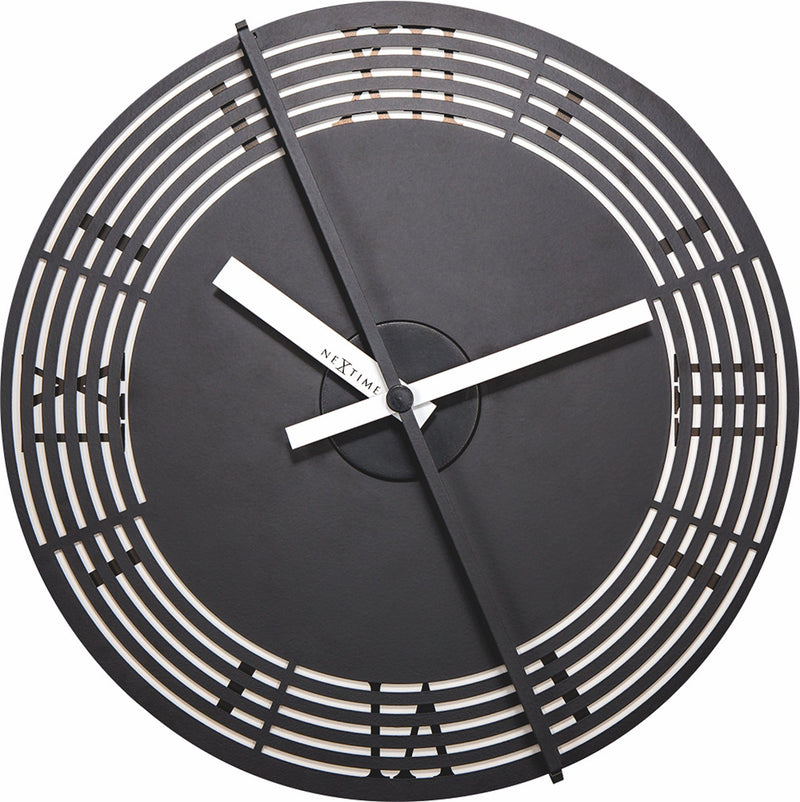 Front Picture 3126,Motion clock Roman Number,Wall clock,Silent,Aluminium,Black