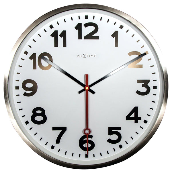 Front Picture 3127AR,Super Station Number,Wall clock,Silent,Stainless Steel,Brushed