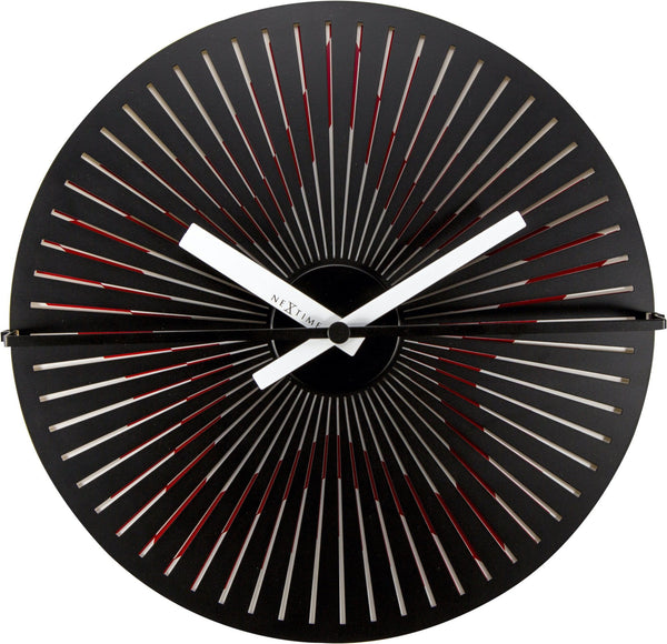 Front Picture 3128,Motion clock Star - Red/White,Wall clock,Silent,Aluminium,Red