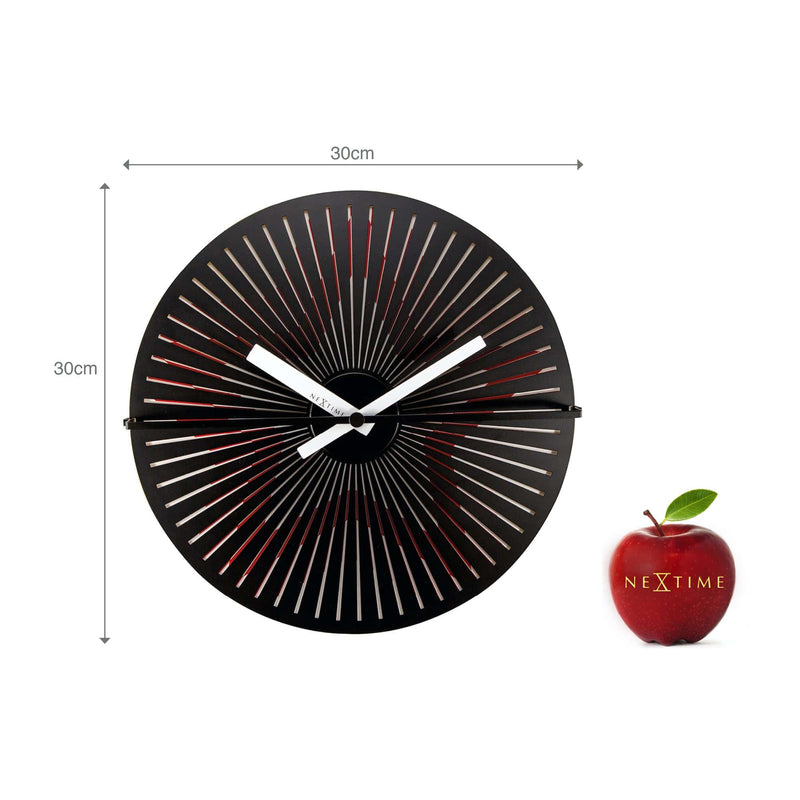 size 3128,Motion clock Star - Red/White,NeXtime,Aluminium,Red