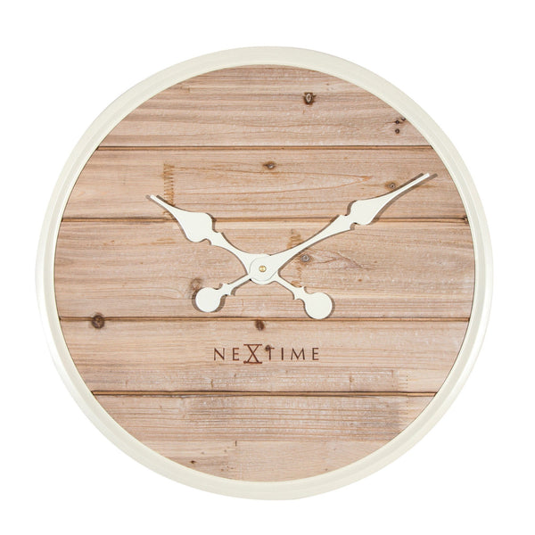Front Picture 3134WI,Plank,Wall clock,Silent,Wood,White